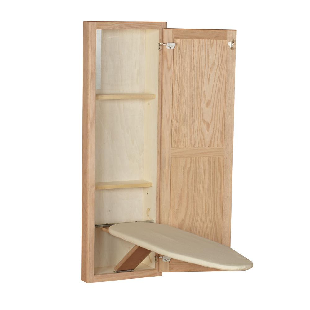 Unfinished Oak Wood In-Wall Ironing Board in Unfinished Oak Wood