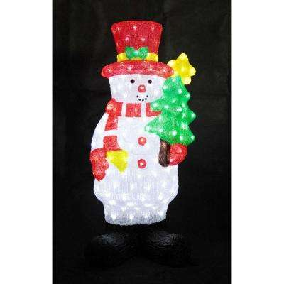 35 in. Decorative Snowman with Tree Sculpture LED Light