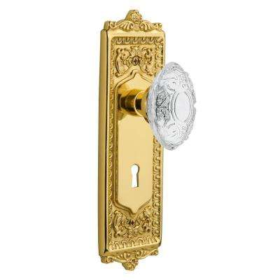 Egg and Dart Plate Interior Mortise Crystal Victorian Door Knob in Unlacquered Brass