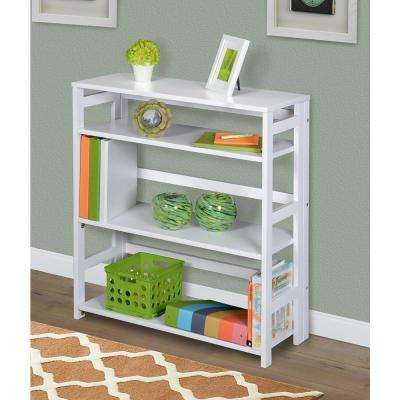 Flip Flop White 3-Shelf 30 in. Wide Folding Bookcase