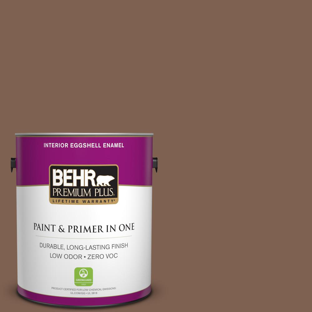 BEHR Premium Plus 1-gal. #HDC-SP14-6 Tilled Earth Zero VOC Eggshell Enamel Interior Paint