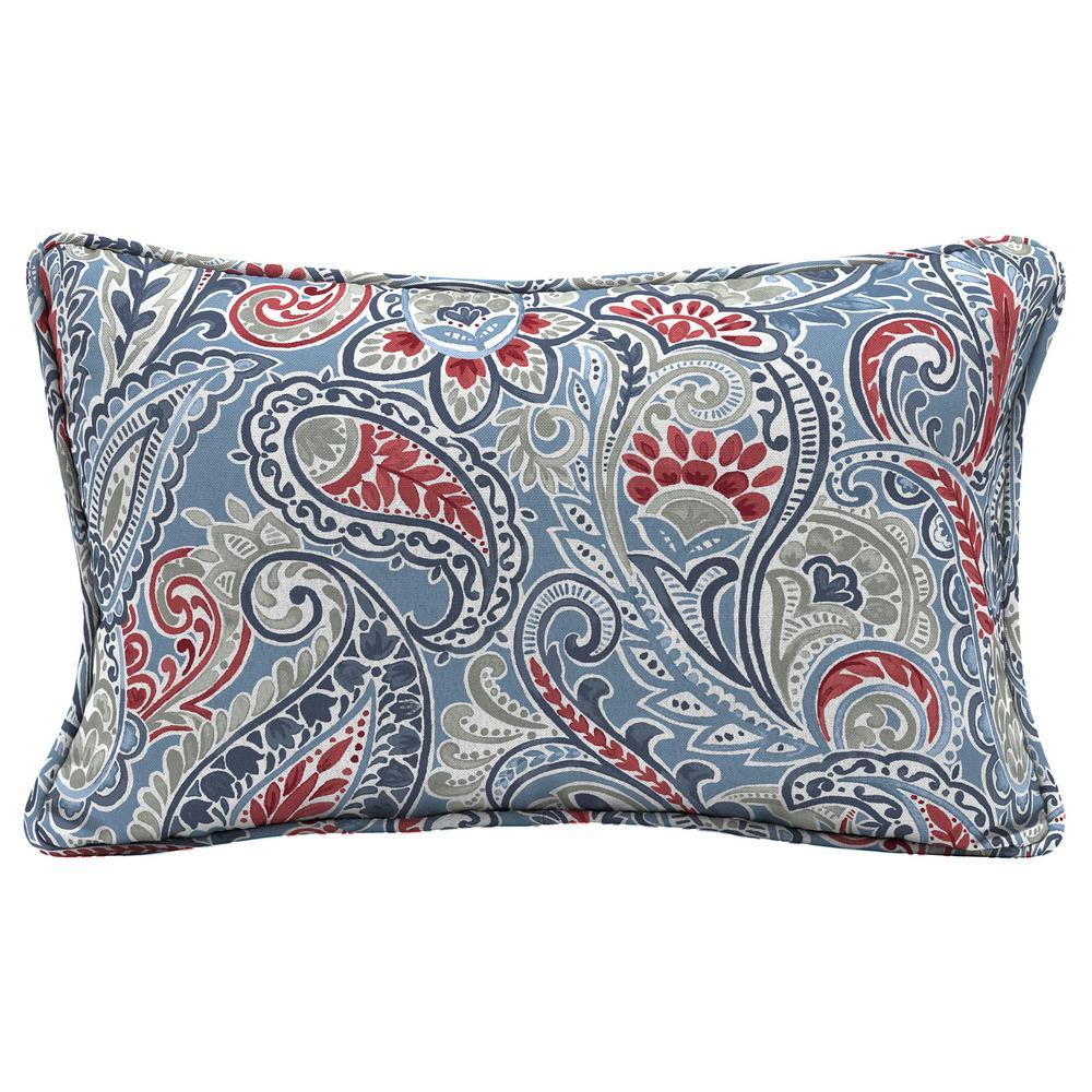 Hampton Bay Denim Paisley Lumbar Outdoor Throw Pillow