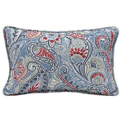 Denim Paisley Lumbar Outdoor Throw Pillow