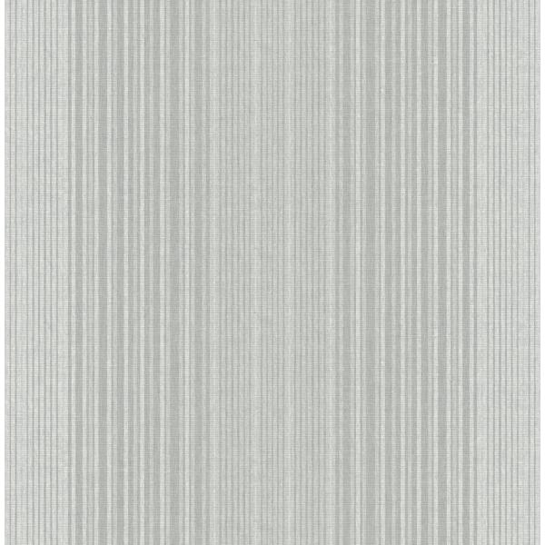 Seabrook Designs Jeannie Metallic Silver and Gray Striped Wallpaper RL60508