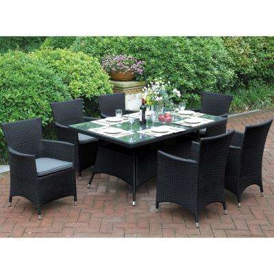 7-Piece All-Weather Wicker Rectangular Outdoor Dining Set with Gray Cushion