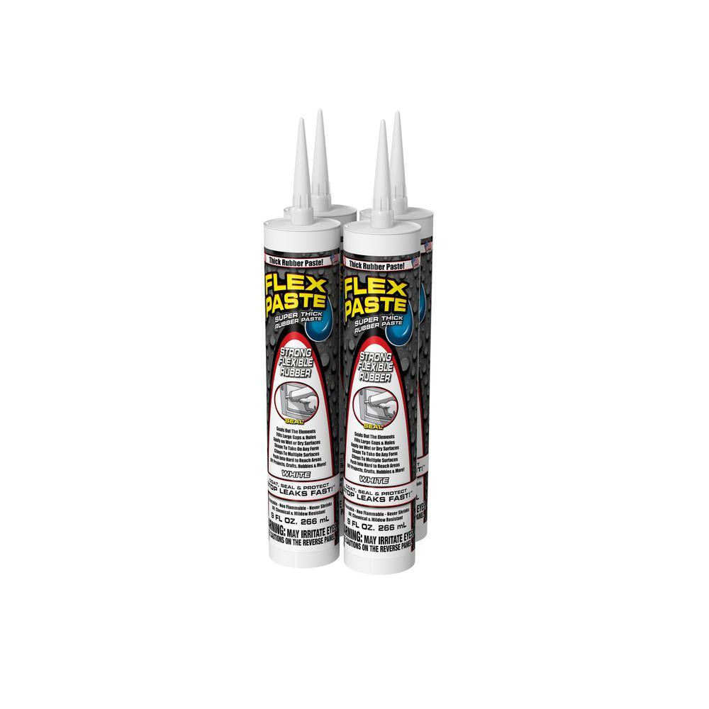 Flex Paste 9 oz. White Cartridge All-Purpose Strong Flexible Watertight Multipurpose Sealant (4-Pack)