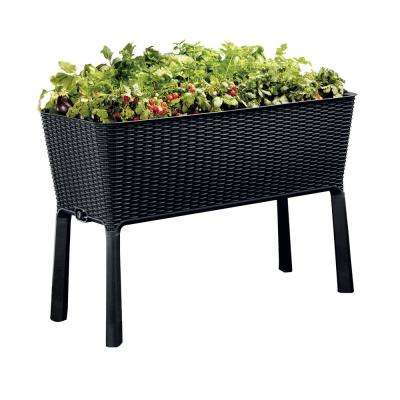Easy Grow 44.9 in. W x 29.8 in. H Anthracite Elevated Resin Garden Bed
