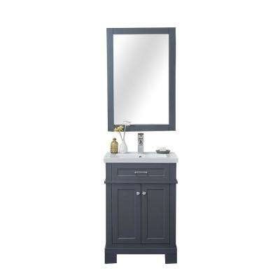 H Bath Vanity In Gray With Porcelain Vanity Top In White With White Basin