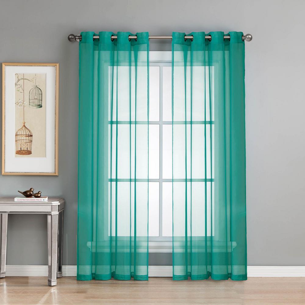 Sheer Elegance 84 In L Grommet Curtain Panel Pair Teal Set Of