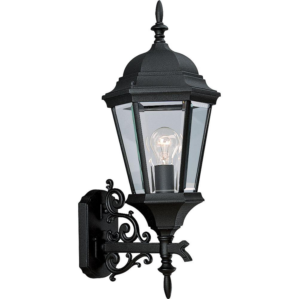 Progress Lighting Welbourne Collection 1 Light 23 25 In Outdoor Textured Black Wall Lantern Sconce