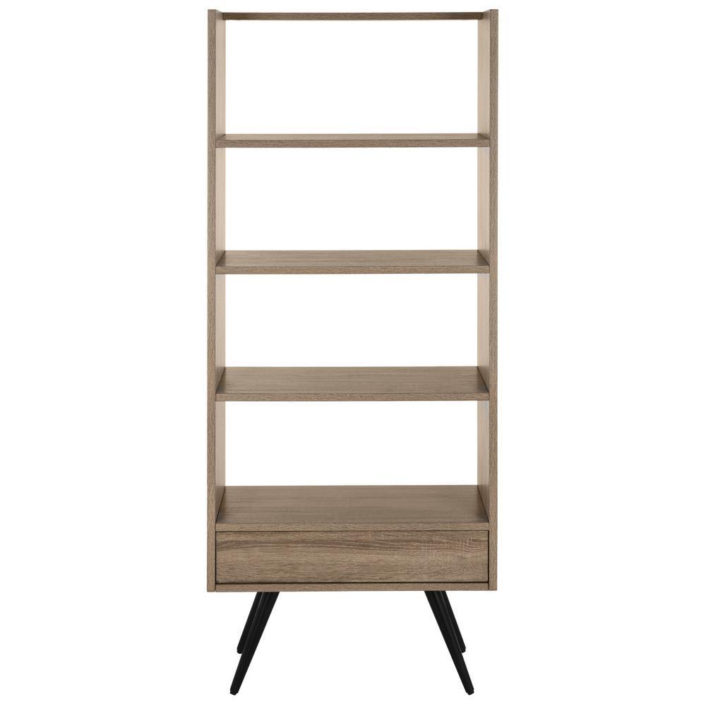 63 in. Light Brown/Black Wood 4-shelf Etagere Bookcase