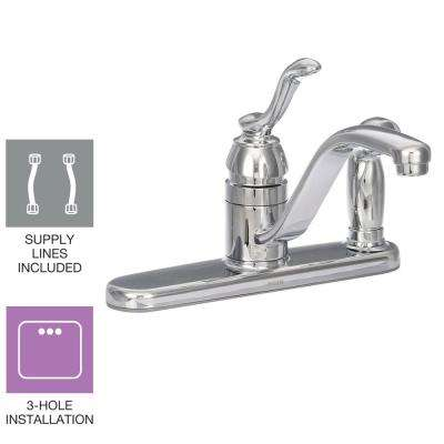 Banbury Single-Handle Low-Arc Standard Kitchen Faucet with Side Sprayer on Deck in Chrome