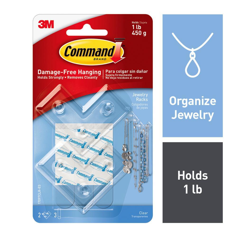 Clear Jewelry Rack (2-Racks) (3-Adhesive Strips)