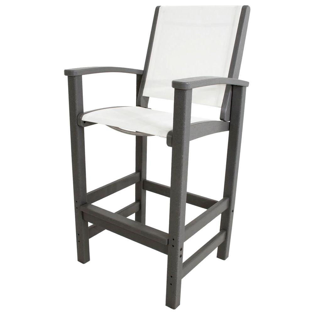 Coastal Slate Grey All-Weather Plastic Outdoor Bar Chair in White Sling