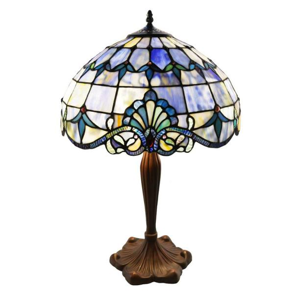 24 in. Blue Indoor Table Lamp with Stained Glass Allistar Shade