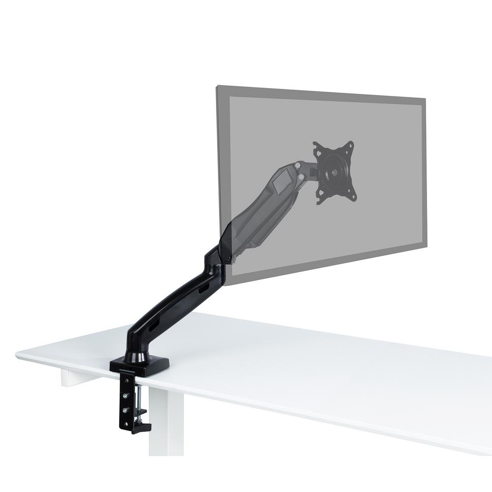 Atlantic Representations Gas Spring Desk Mount Fits 17 in. - 27 in. Monitor up to 14 lbs., Black Raise your monitor up off your desktop and create a space saving work area with this monitor arm. Effortless adjustment of the monitor arm ensures you have the perfect viewing angle reducing ergonomic strains. Save time with easy installation. Color: Black.