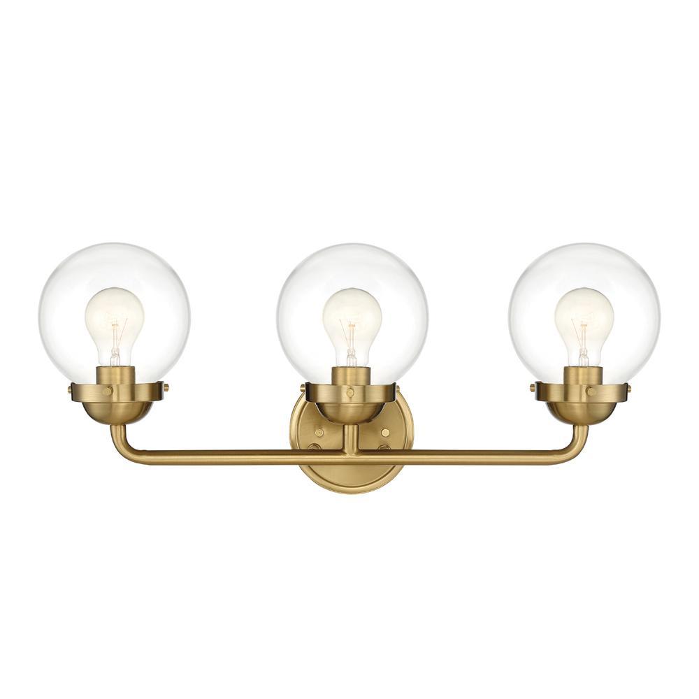 Knoll 3-Light Brushed Gold Bath Bar Vanity Light