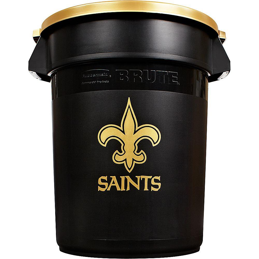 Rubbermaid Commercial Products Brute NFL 32 Gal. New Orleans Saints Round Trash Can with Lid