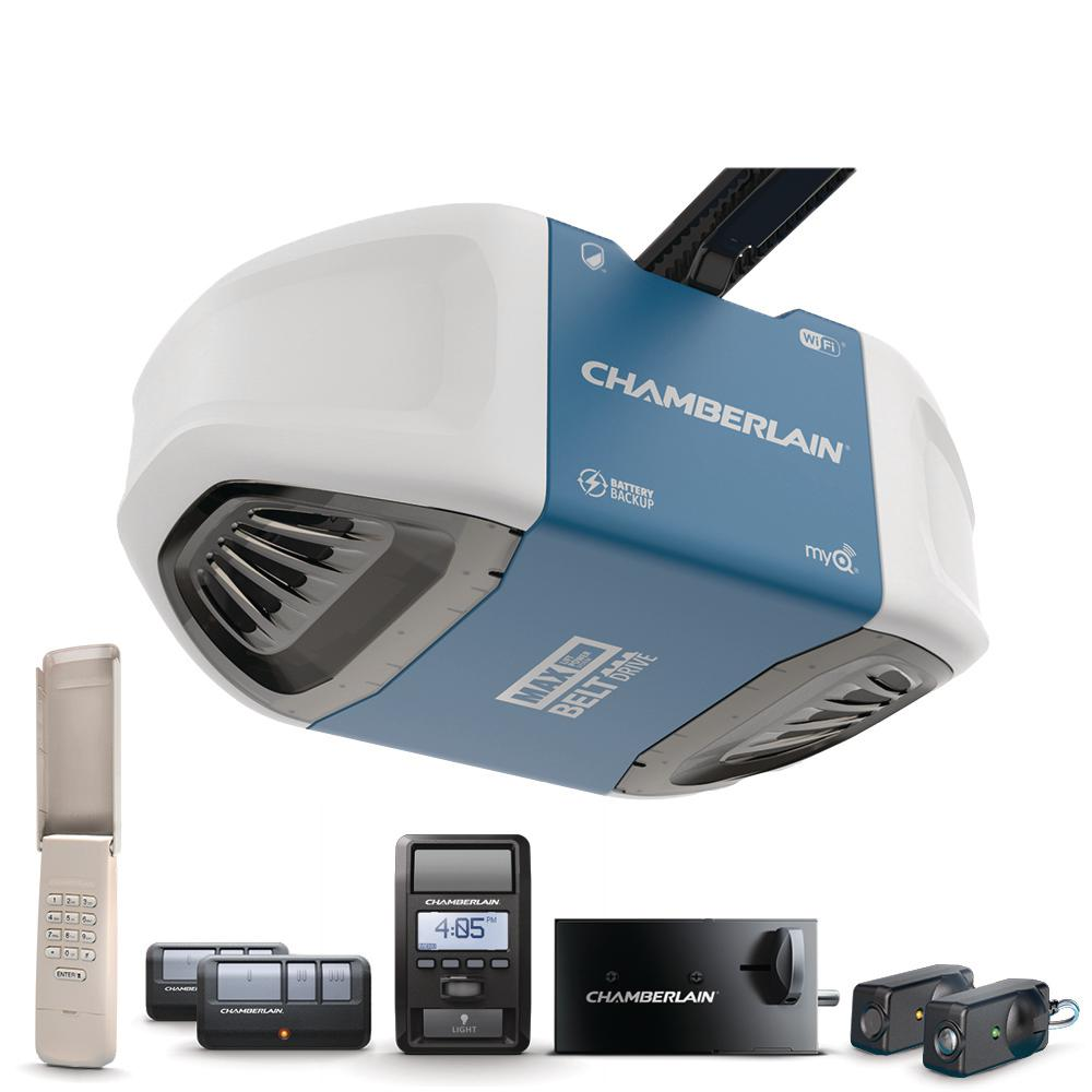 Chamberlain 1 1 4 Equivalent Hp Belt Drive Lock Wi Fi Garage Door Opener With Battery Backup And Max Lifting Power B980 The Home Depot