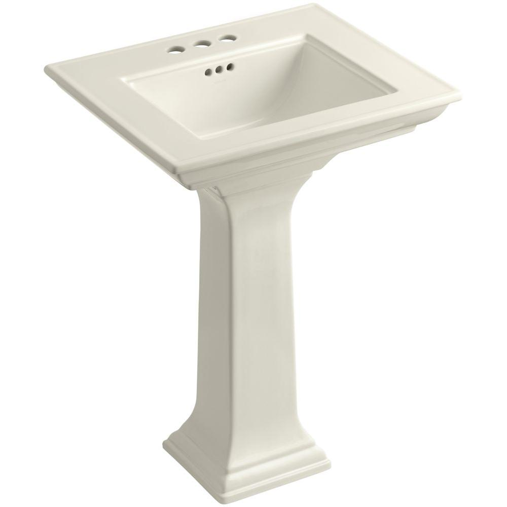 Memoirs Stately Ceramic Pedestal Bathroom Sink Combo In Biscuit With  Overflow