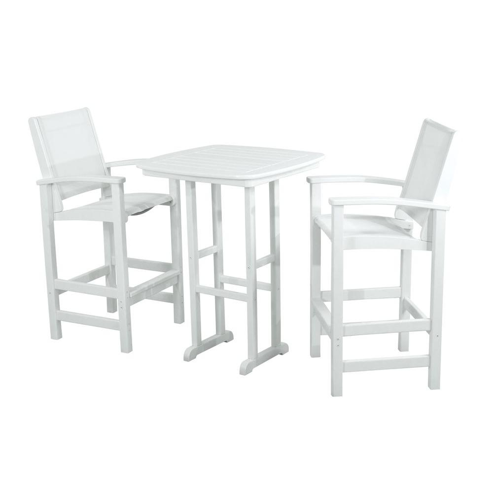 Coastal White 3-Piece Patio Bar Set with White Slings