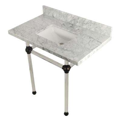 Square Sink Washstand 36 in. Console Table in Carrara Marble with Acrylic Legs in Oil Rubbed Bronze