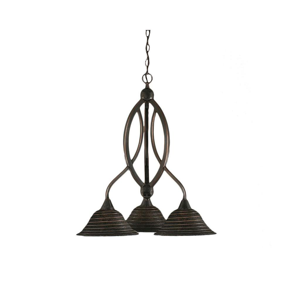 Concord 3-Light Black Copper Chandelier with Charcoal Spiral Glass