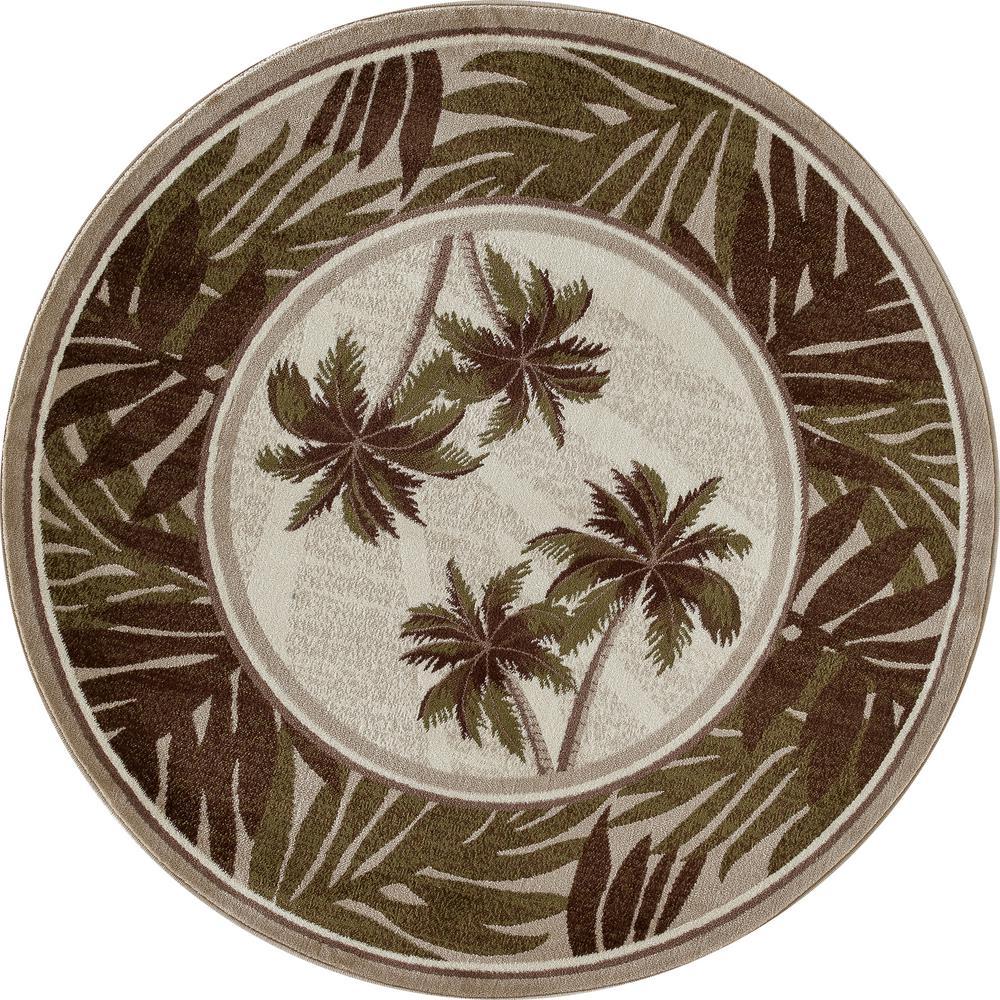 Art Carpet Palm Coast Frond Green 8 Ft X 8 Ft Round Area
