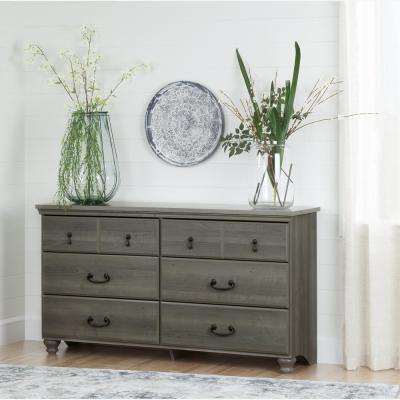 Noble 6-Drawer Gray Maple Dresser