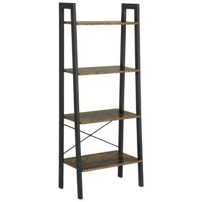 Industrial 4-Tier Ladder Bookcase