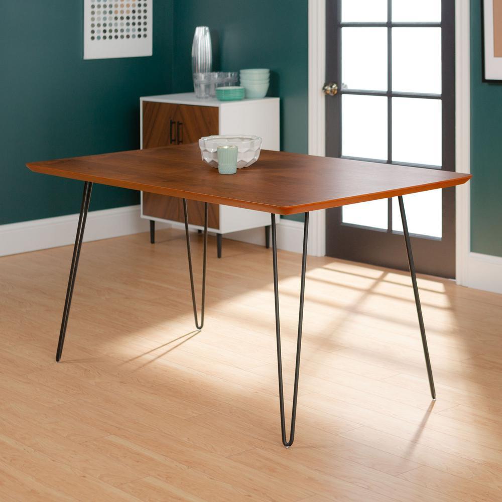 60 in. Walnut Hairpin Leg Dining Table