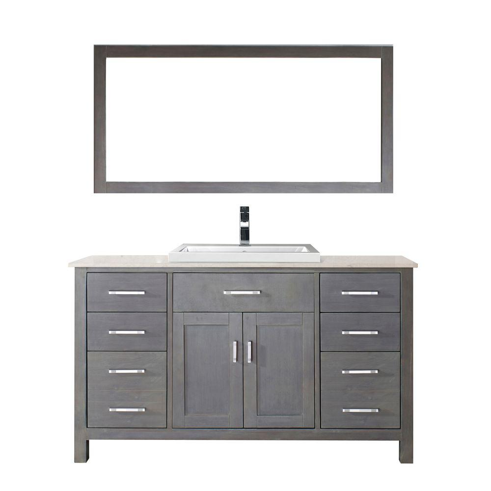 Studio Bathe Kelly 60 in. Vanity in French Gray with Solid Surface Marble Vanity Top in Carrara White and Mirror