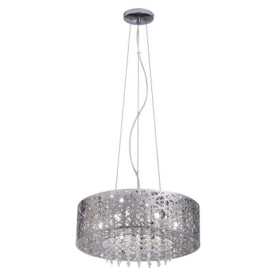 7-Light Mirrored Stainless Steel Pendant with Laser Cut Mirrored Shade and Crystal Drops