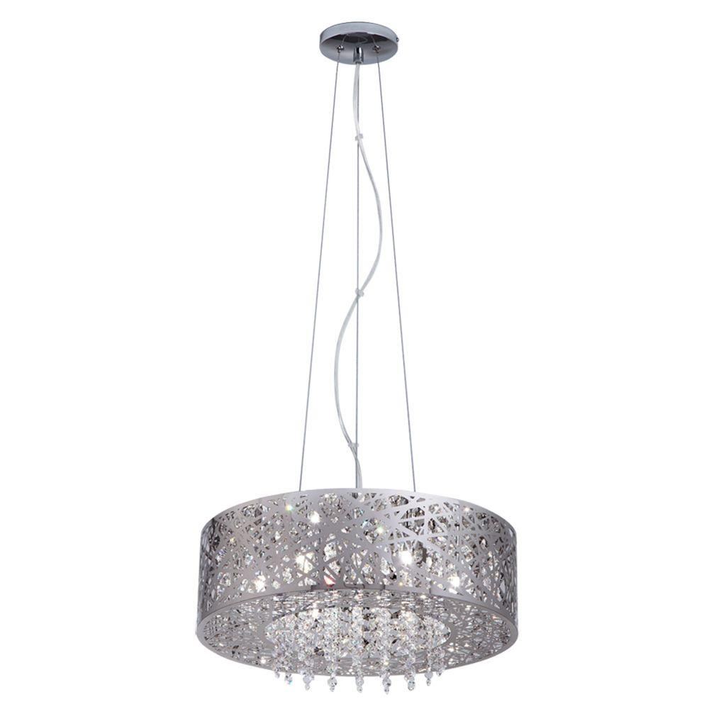 mirrored lighting. Home Decorators Collection 7-Light Mirrored Stainless Steel Pendant With Laser Cut Shade And Crystal Drops-16650 - The Depot Lighting R