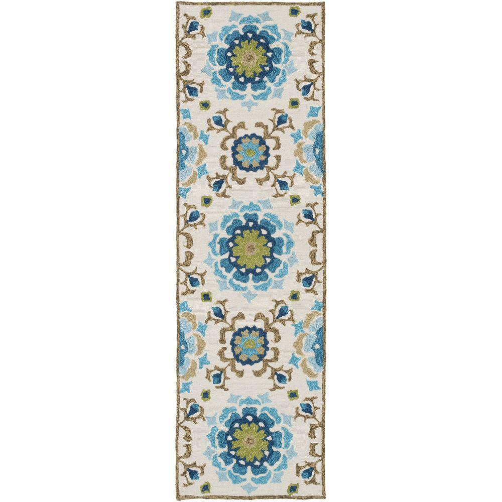 Duvalia Teal 3 ft. x 8 ft. Indoor/Outdoor Runner Rug