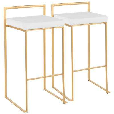 Fuji 30 in. Gold Stackable Bar Stool with White Velvet Cushion (Set of 2)