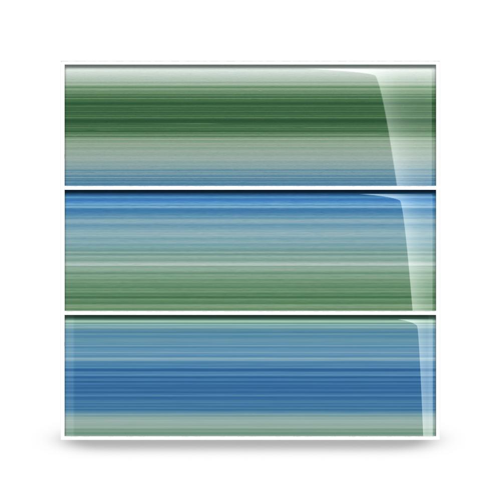 Bodesi Tidal 4 In X 12 In Glass Tile For Kitchen Backsplash And Showers 10 Sq Ftper Box