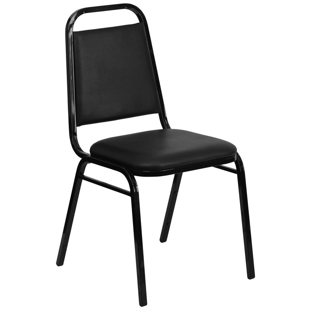 Flash Furniture Black Vinyl/Black Frame Stack Chair CGA-FD-1593-BL-HD