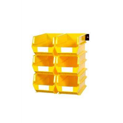 LocBin 2.76-Gal. Wall Storage Bin System in Yellow (6-Bins) and 2- Wall Mount Rails