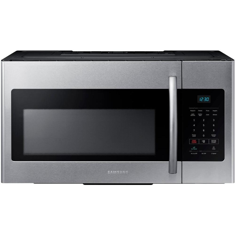 Samsung 30 In W 1 6 Cu Ft Over The Range Microwave Fingerprint Resistant Stainless Steel