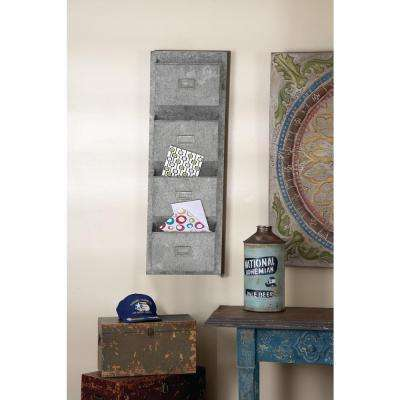 15 in. x 45 in. Iron Galvanized Wall Pocket