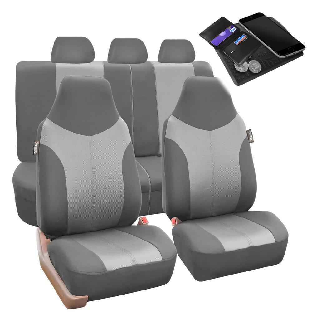 FH Group Supreme Twill Fabric 47 in. x 23 in. x 2 in. Universal Fit Full Set Car Seat Covers