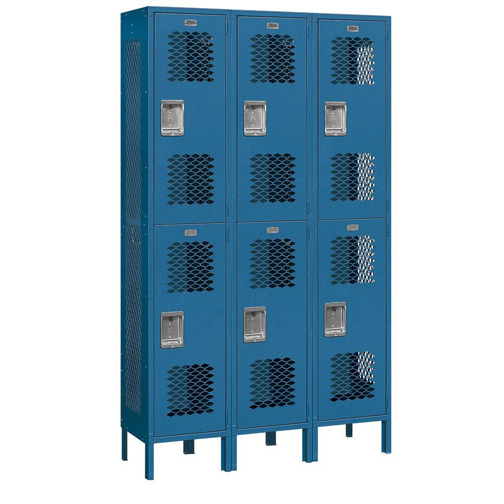 Salsbury Industries 82000 Series 45 in. W x 78 in. H x 15 in. D 2-Tier Extra Wide Vented Metal Locker Unassembled in Blue