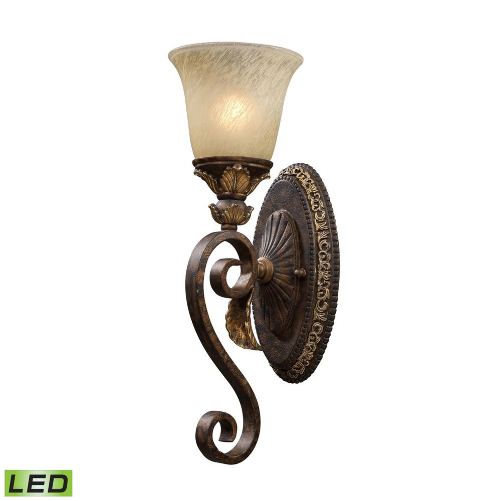 Regency 1-Light LED Burnt Bronze And Gold Leaf Bath Light