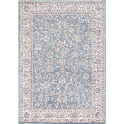 Kashan Bergama Blue 7 ft. 10 in. x 9 ft. 10 in. Area Rug