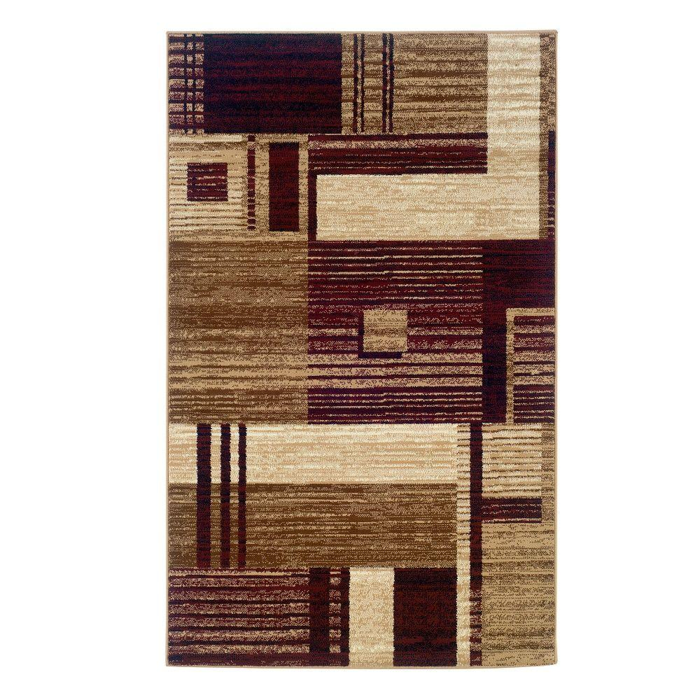 Linon Home Decor Capri Collection Burgundy And Beige 4 Ft 3 In X 7 Ft 3 In Indoor Area Rug