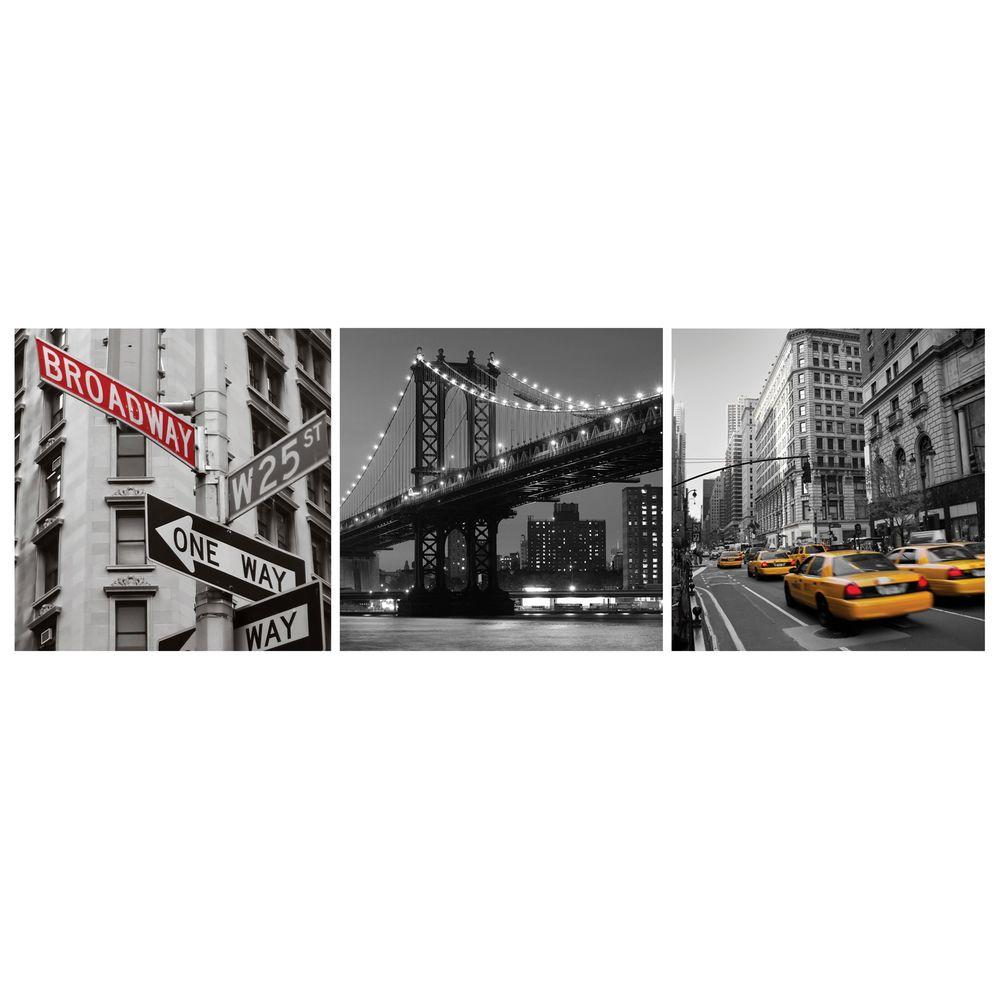 """AZ Home and Gifts Nexxt 12 in. x 12 in. """"New York"""" City 3-Panel Canvas Wall Art"""