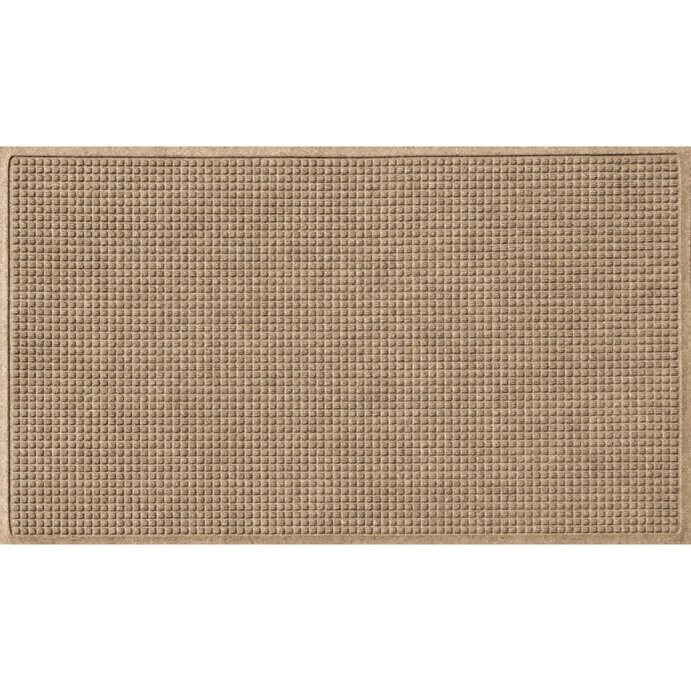 Khaki 36 in. x 84 in. Squares Polypropylene Door Mat