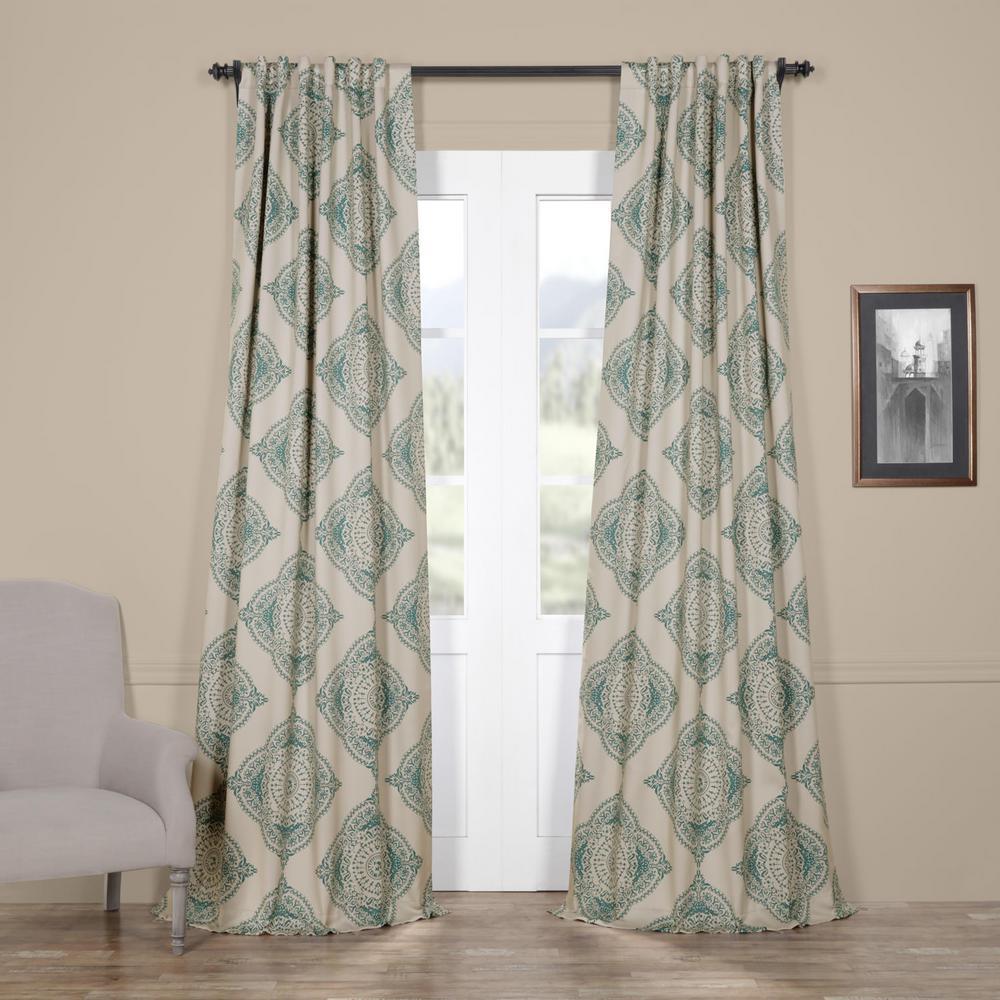 Exclusive Fabrics Furnishings Semi Opaque Henna Teal Blackout Curtain