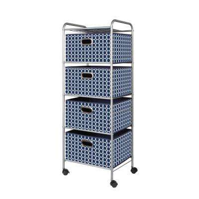 4 Drawer Cart in Geometric Blue